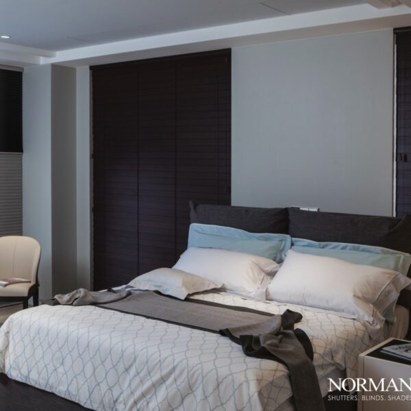 floor to ceiling shades in bedroom