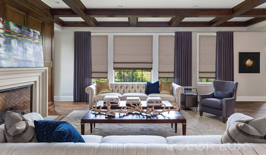 living room with luxury window shades and purple window treatment