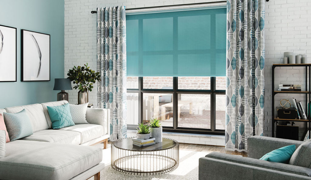 Blue blinds and curtains in a modern living room