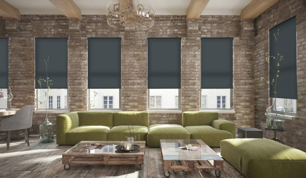 Dark blinds in a room with brick walls