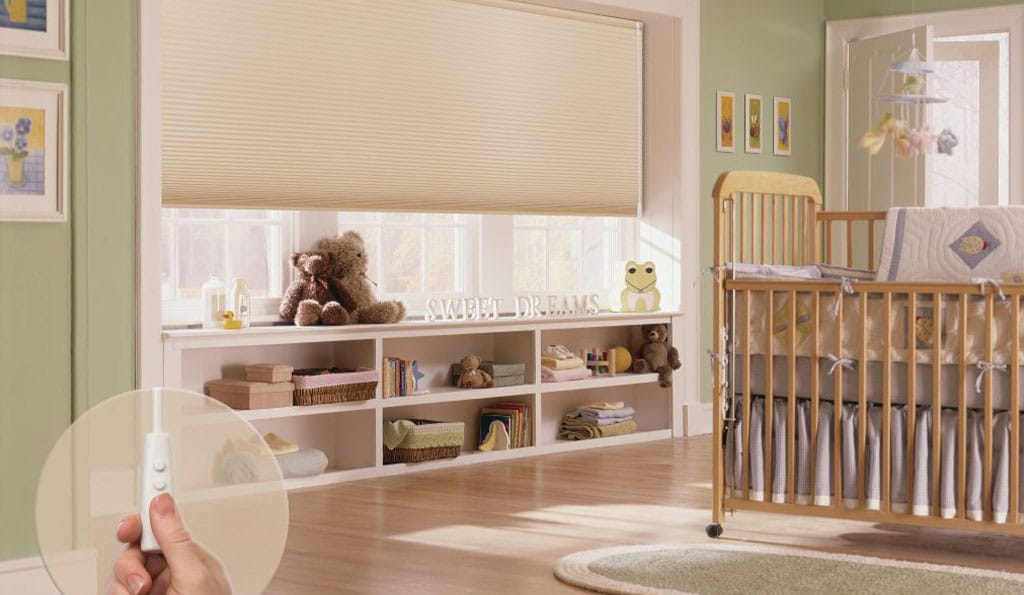 Blinds with remote control in a nursery
